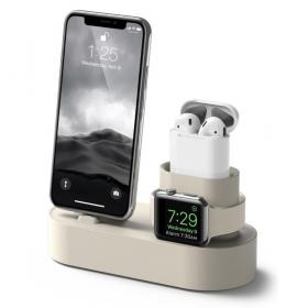 Taltech 3-in-1 Charging Stand iPhone, AirPods & Apple Watch - Beige - Teknikdele.dk