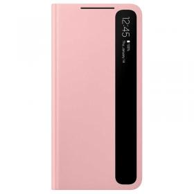 Samsung Clear View Samsung Galaxy S21 5G cover- Pink - Teknikdele.dk