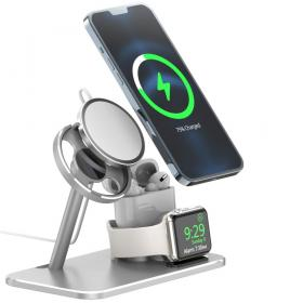Taltech AJZJ07A 3-in-1 Opladerstationfor iPhone 12 Series, Apple Watch, AirPods - Teknikdele.dk